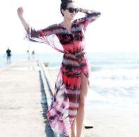 Chiffon Kaftan Tie Dye Print Summer Holiday Dress Beach Cover up Maxi Dress