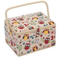 GRANDE scatola da cucito-tessuto da cucire Cestino manico & Tray gufi in tessuto color crema