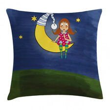 Kids Throw Pillow Case Girl on Moon Quote Artwork Square Cushion Cover 18 Inches