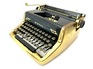1952 GOLD Royal Quiet de Luxe Typewriter Working Portable Vtg Antique Pica