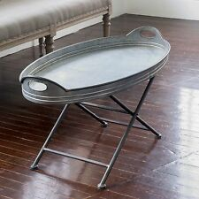 Rustic Farmhouse OVAL Galvanized Metal Cocktail Coffee Patio Table