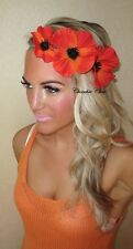 Red Orange Poppy Flower Gold Hair Head Band Piece Choochie Choo Beach Wedding
