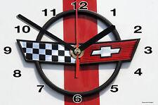 HORLOGE MURALE Logo ANCIEN CHEVROLET SUR TOLE BLANC -01M