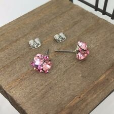 Pink Crystal Titanium Post Stud Earrings US Seller Made in Korea