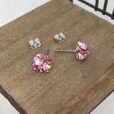 Pink Crystal Titanium Post Stud Earrings US Seller Made in Korea