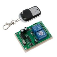 DC 12V 2CH RF 433MHz Wireless Switch Relay Receiver Module With Remote Control