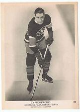 1939-40 O-Pee-Chee V301-1 Cy Wentworth #30 Montreal Canadiens (5 x 7 card) NrMt+