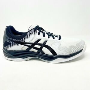Asics Gel-Tactic White Black Mens Indoor Court Training Shoes 1071A031 100