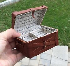 Hand Made Brown Leather Lg Steamer Trunk Chest w Tray - Dollhouse Miniature