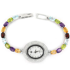 Sterling Silver 925 Stunning Genuine Gemstone & Lab Created Diamond Watch 7 Inch