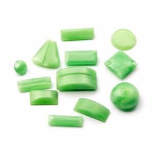 Lot (12) Czech Art Deco geometric green satin glass cabochons rhinestones