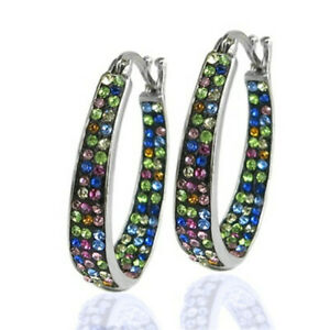 Gorgeous 925 Silver Hoop Earring Women Multi-Color Crystal Jewelry A Pair/set