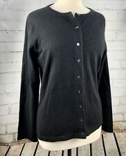 PURE Collection 100% Cashmere Cardigan Sweater Womens Size 12 / L Black NEW!