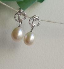 Genuine 10-11mm drop freshwater pearls in 925 sterling silver CZ stud earrings