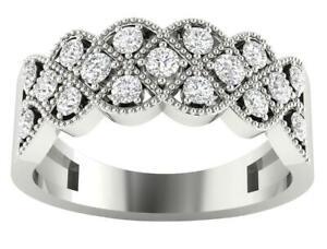 Anniversary Ring SI1 G 0.70 Ct Natural Diamond 14K Solid Gold 7.80 mm Prong Set