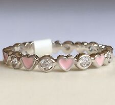 Silver Pink Hearts Eternity Ring Plated Cubic Zirconia Stackable Band Size 9 USA