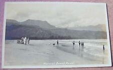 1920's Beachgoers Hanalei Kauai TH Hawaii AZO RPPC