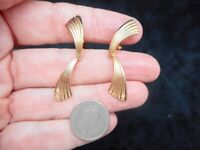Authentic Vintage 1960's Shiny Gold Tone Dangle Clip Earrings