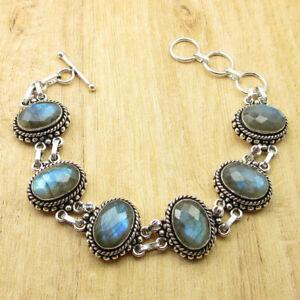 925 Silver Plated Blue Fire Labradorite & 2 More Gemstone VARIATION Art Bracelet