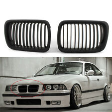 2Pcs For BMW E36 M3 1997-99 3 Series Matte Black Front Hood Kidney Grill Grille