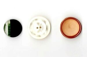 3 Vintage Buttons White, Brown, & Green Faceted BAKELITE & PLASTIC