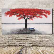 Mintura Art Handpainted Red Life Tree Abstract Oil Paintings On Canvas Wall Arts
