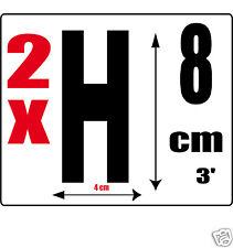 lot 2 lettres [H] Sticker autocollant noir hauteur 8cm Lettre adhésive en vinyle