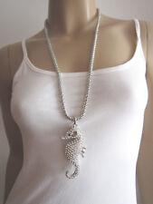 Damen Hals Kette Modekette Modeschmuck Lang Strass Seepferdchen Silber Bling