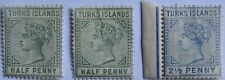 1873 TURKS ISLANDS #51-52: MH Queen Victoria group of 3 early issues