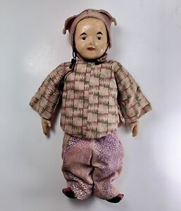 Antique Chinese Five-Finger Ching Cloth and Composition Doll in Original Clothes