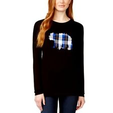 G.H. Bass Womens Plaid Bear Applique Long Sleeve Top Relaxed Fit Casual Small