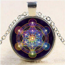 Metatron Art Photo Cube Cabochon Glass Tibet Pendant Silver Chain Necklace AU-6