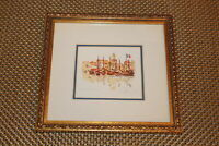 Original Nautical Miniature Water Color Painting Boats In Harbor Signed Framed