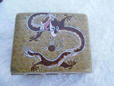 Vintage Brass Enamel Cigarette Box Match Box Chinese Dragon Green Brown