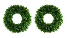 2 x Premier 50cm Artificial Green Christmas Wreath Door Wall Decoration