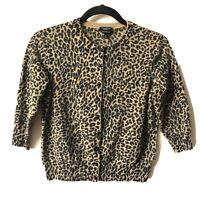 Talbots Size M Pure Italian Merino Animal Print Knit Button Up Cardigan Sweater
