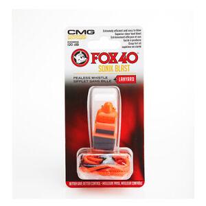Fox 40 Sonik Blast CMG Whistle with Lanyard Referee-Coach Orange Black 9203-3308