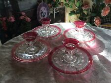Lot Of 8 Tiffin King's Crown Thumbprint Cranberry Cordial Wine Glasses + Plates