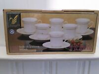 LYNNS 12 PIECE VICTORIA FINE CHINA COFFEE CUP AND SAUCER SET SERVICE FOR SIX