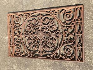 Cast Iron Welcome Mat Floor Door Heavy Metal Garden Outdoor Floral Ornate