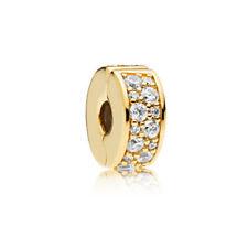 European Gold Rhinestone Spacer Stopper Clip Lock Beads Fit European Bracelet