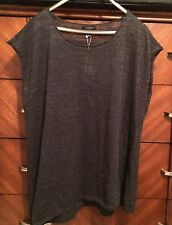 SMALL NEW EILEEN FISHER CHARCOAL SHEER SPARKLED SLUB SCOOP NECK CAP SLEEVE TUNIC