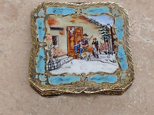 Vintage 800 Silver Gold Plated Compact With Enamel Top