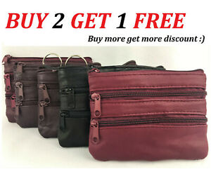 Womens & mens genuine leather wallet credit id card holder ZIP4 purse COIN pouch