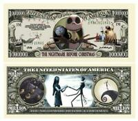 100 Nightmare Before Christmas 1 Million Dollar Bill Novelty Note Lot