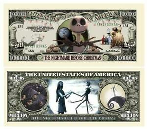 Pack of 25 - Nightmare Before Christmas Jack Skellington Collectible Dollar Bill