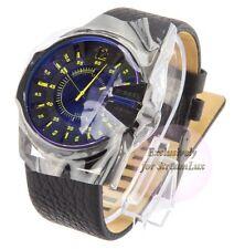 DIEZEL DZ1642 MASTER CHIEF Black Leather Strap Blue Refective Dial Men's Watch