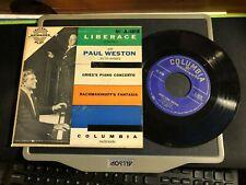 LIBERACE & Paul Weston Grieg's Concerto & Rachmaninoff's Fantasia Columbia 45 EP