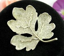 "BSK LEAF BROOCH Vintage PIN Oak Maple Texturized Shiny Silvertone  2"" Leaves"