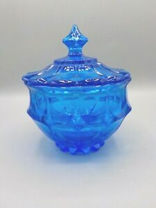 Vintage Faceted Blue Glass Candy Dish Jar w/Lid LE Smith Viking Mid Century Exc!